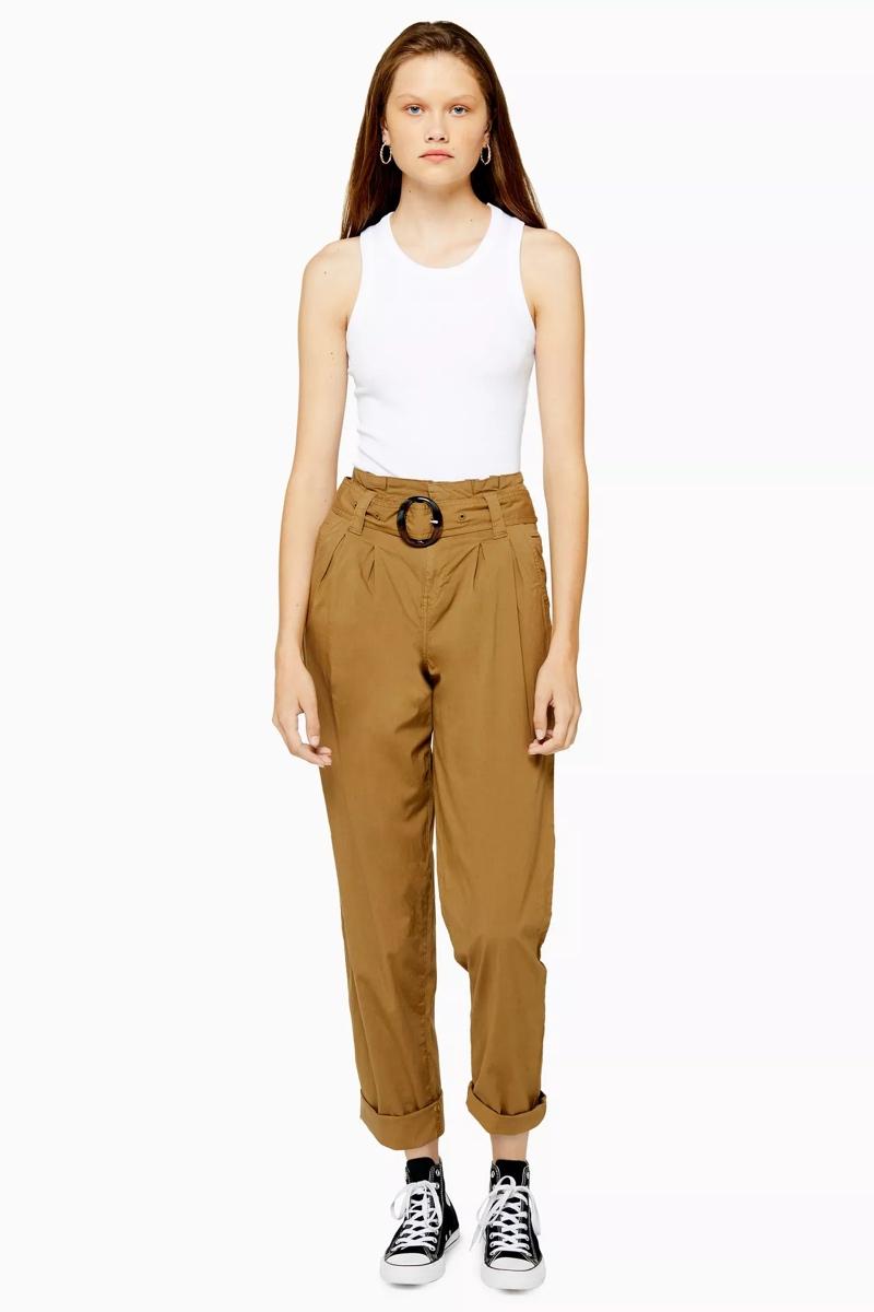 Belted Poplin Trousers, $75, Topshop