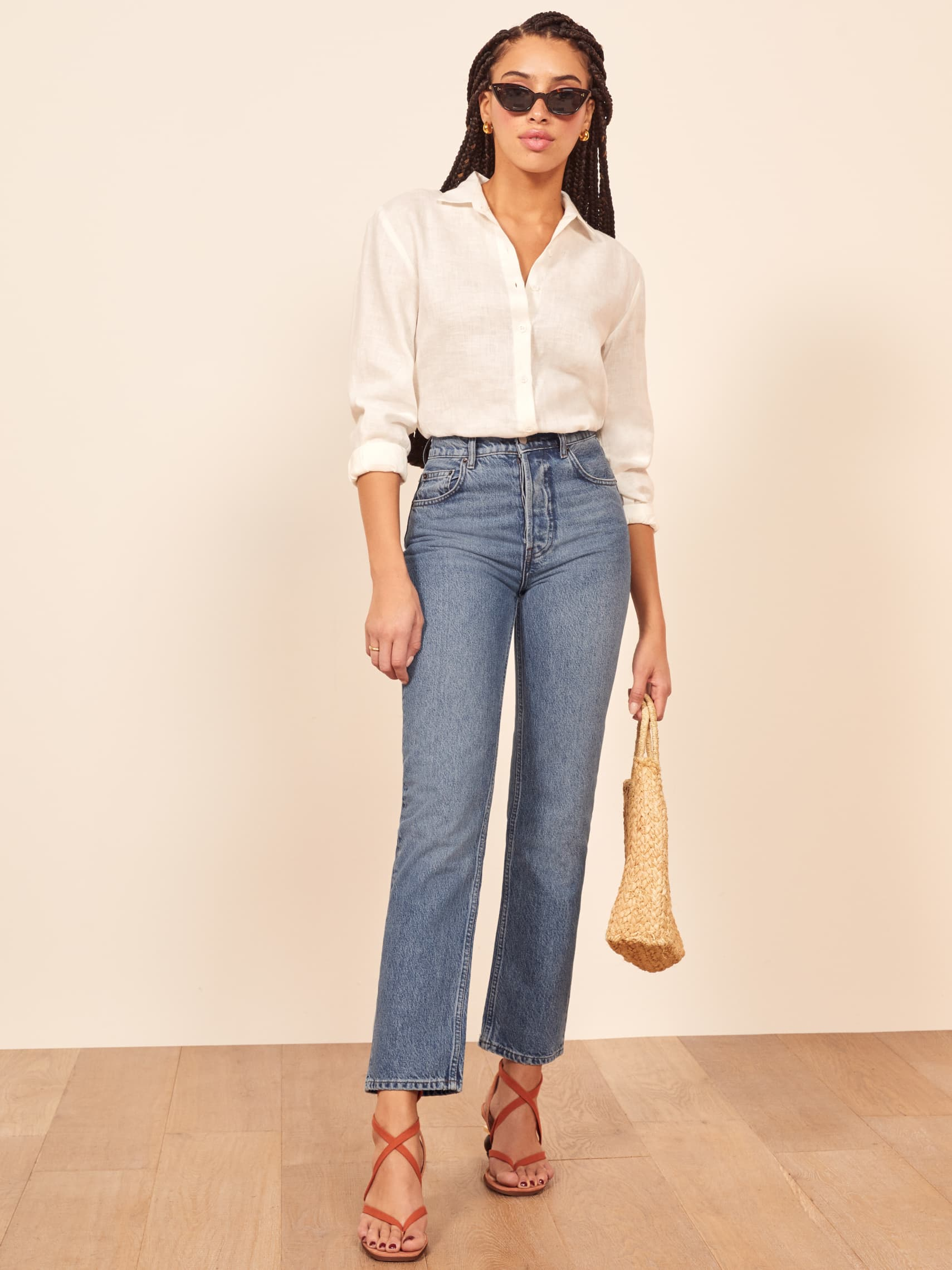 Cynthia High Relaxed Jean, $128, Reformation