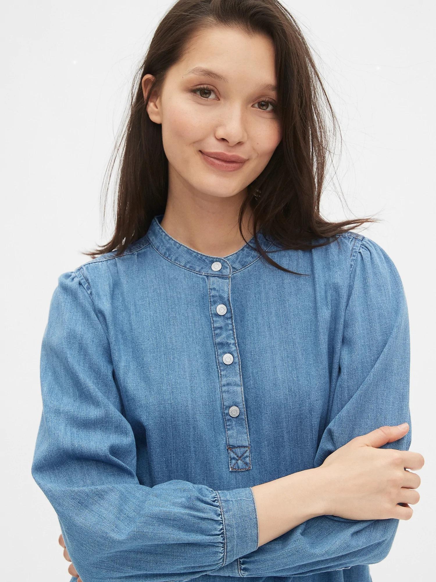 Popover Denim Shirt, $60, GAP