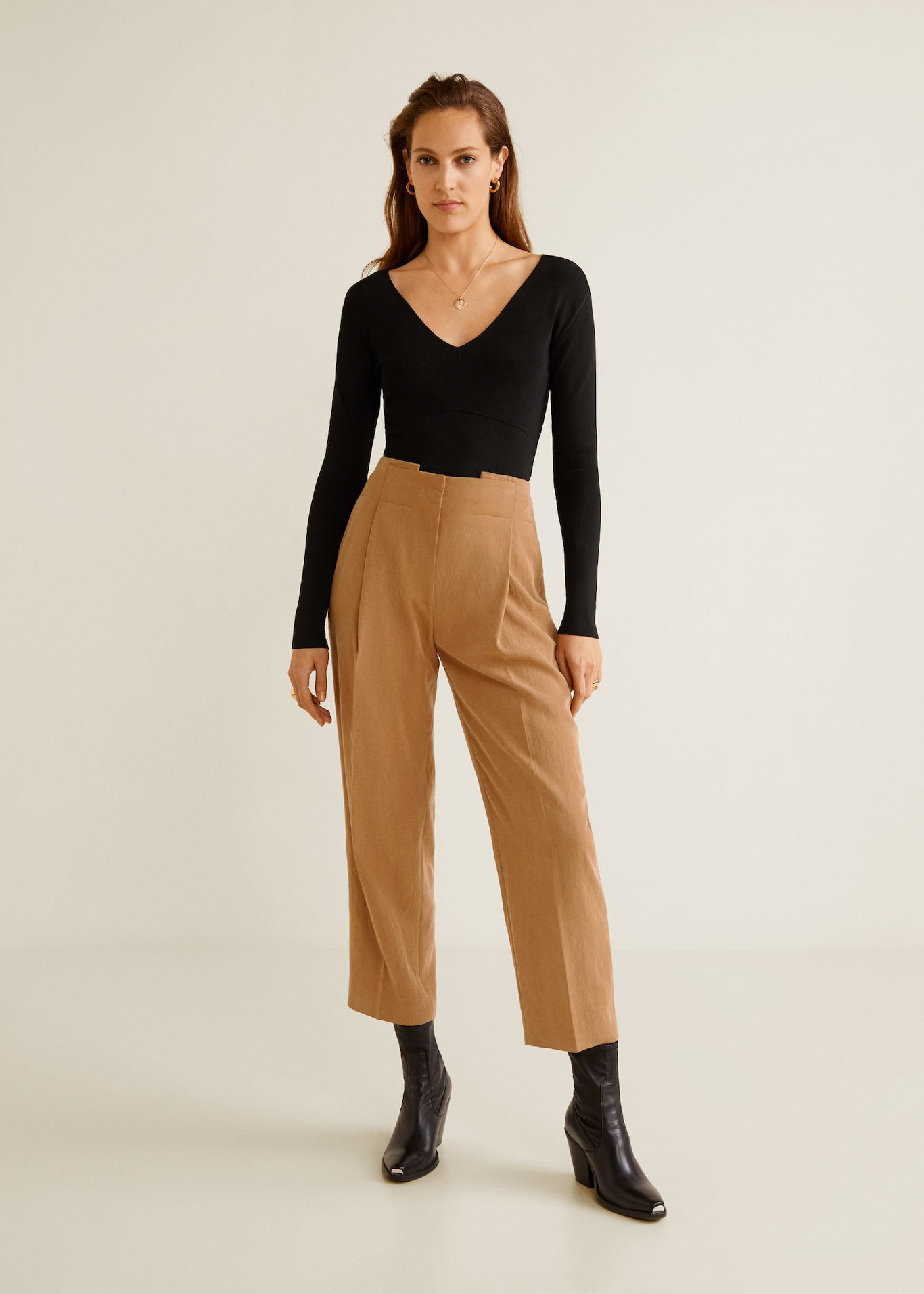 Decorative Pleat Pants, $80, Mango