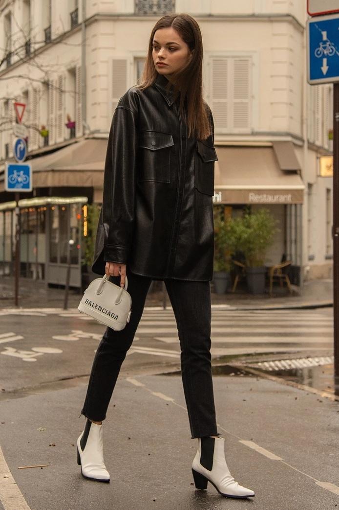 Black Vegan Leather Shirt, $139, Pixie Market