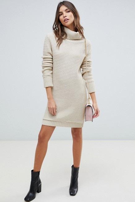 Cream Sweater Dress, $39, ASOS