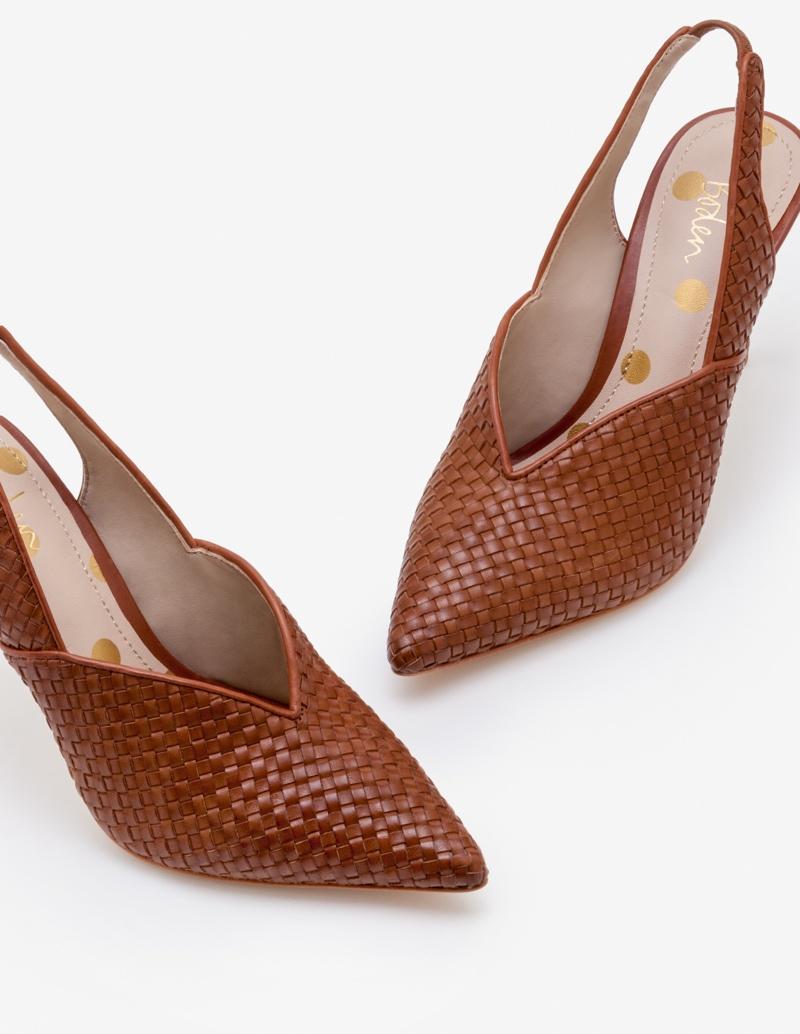 Brown Woven Heels, $99, Boden