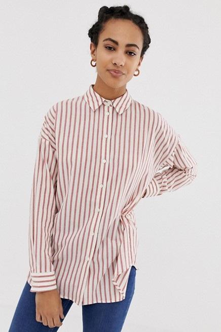 Oversized Long Sleeve Striped Shirt, $27, ASOS