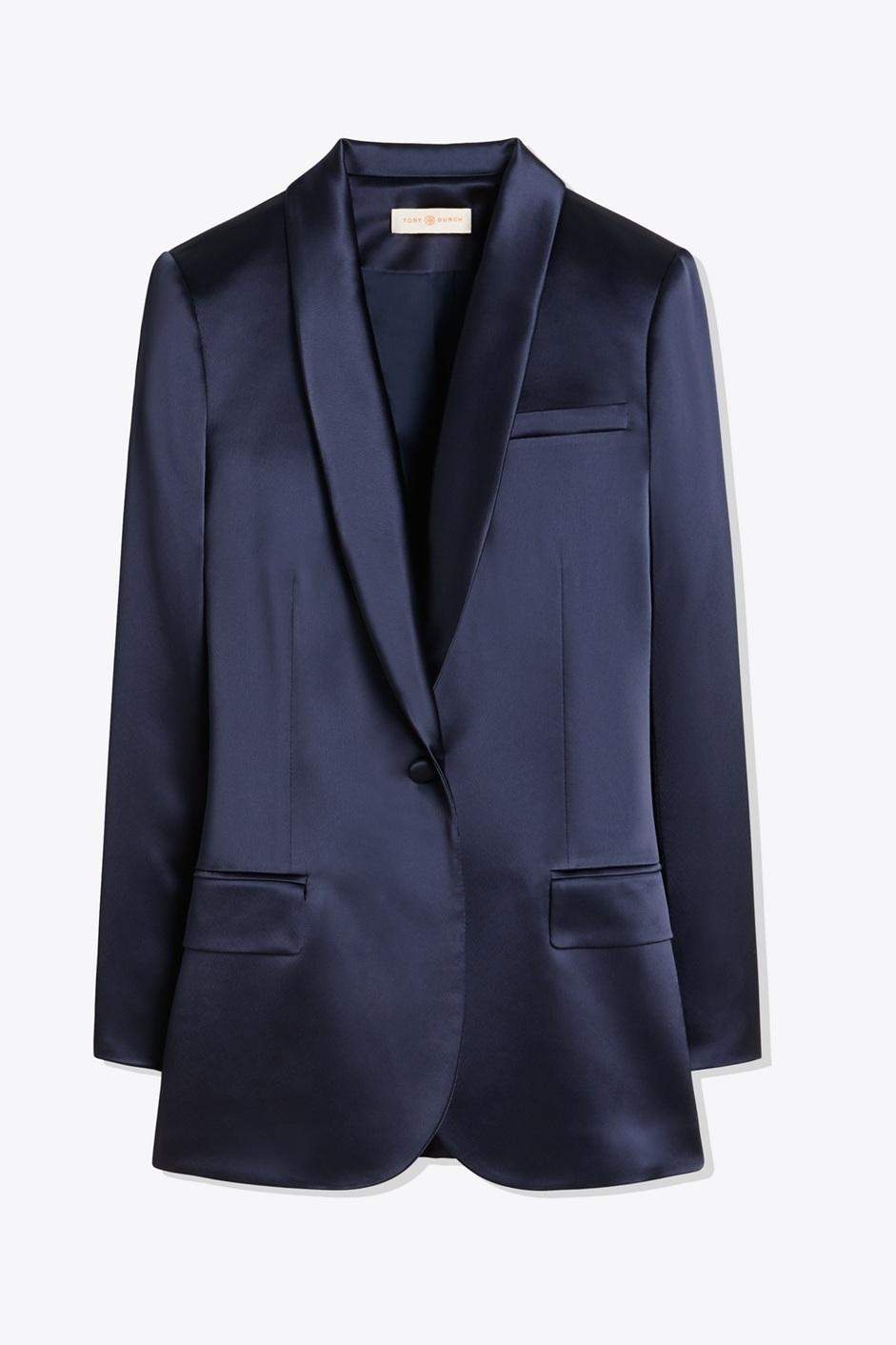 Blue Satin Blazer, Bloomingdales, $459