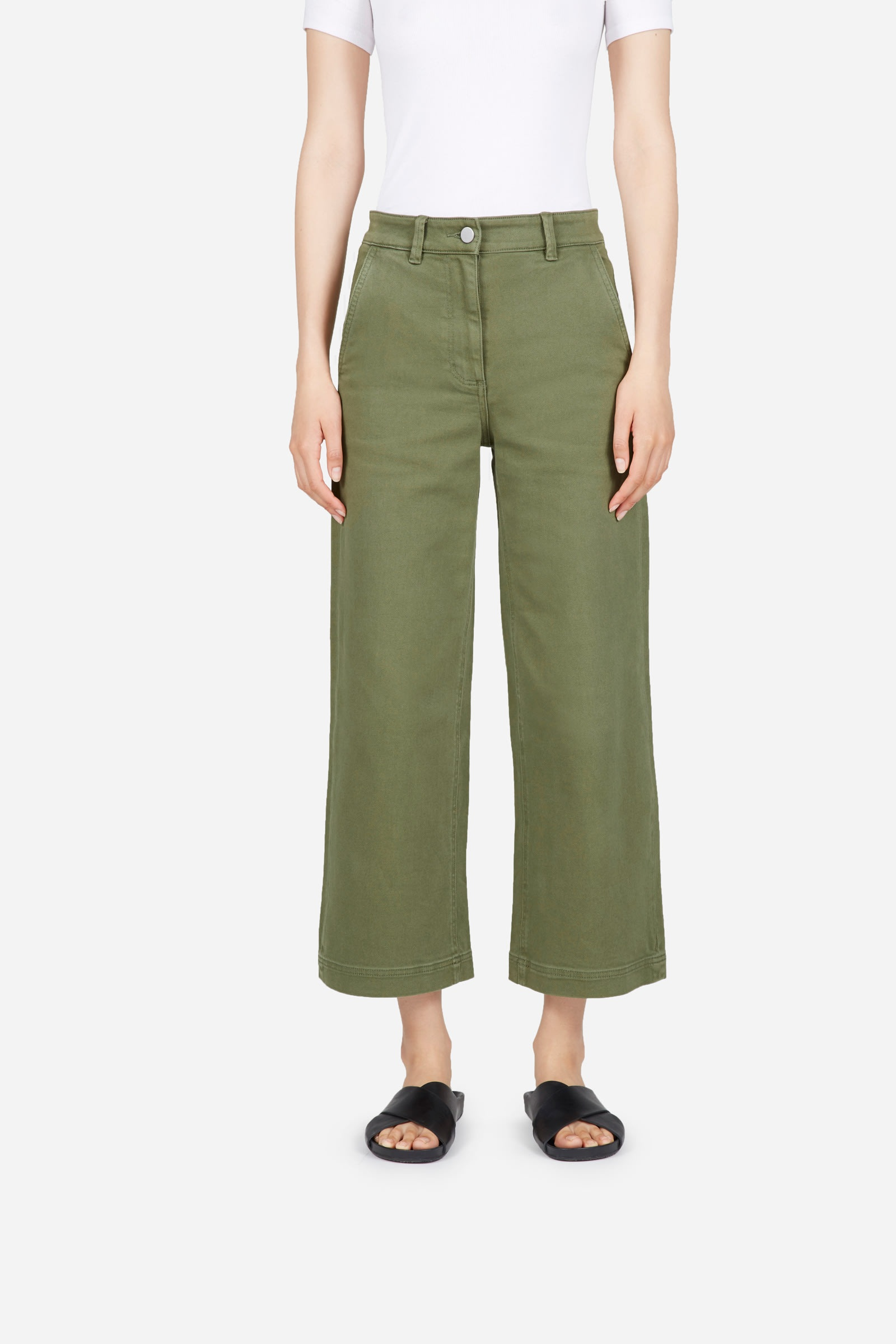 Green Cropped Pants, $68, Everlane