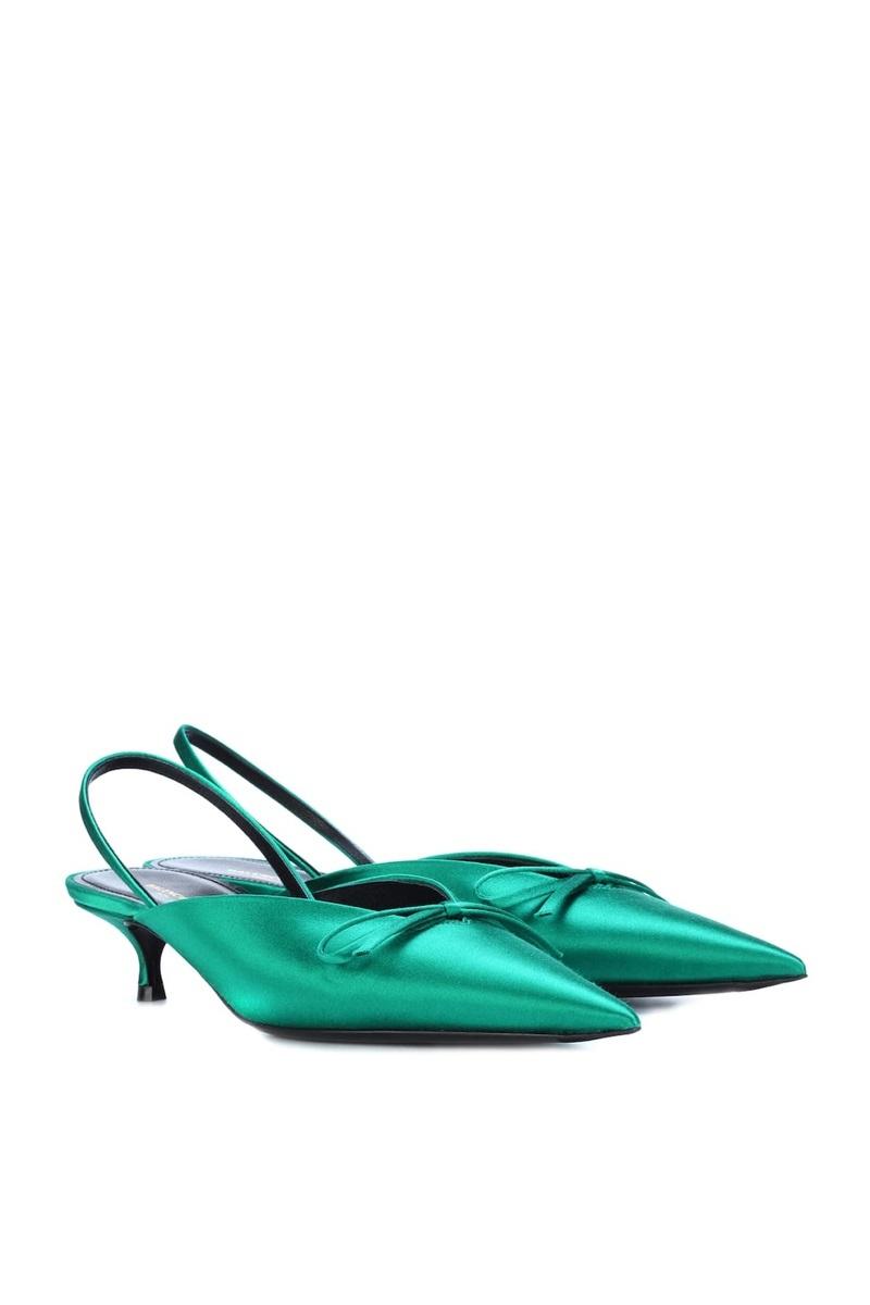 Balenciaga Knife Satin Kitten Heels, $556, MyTheresa