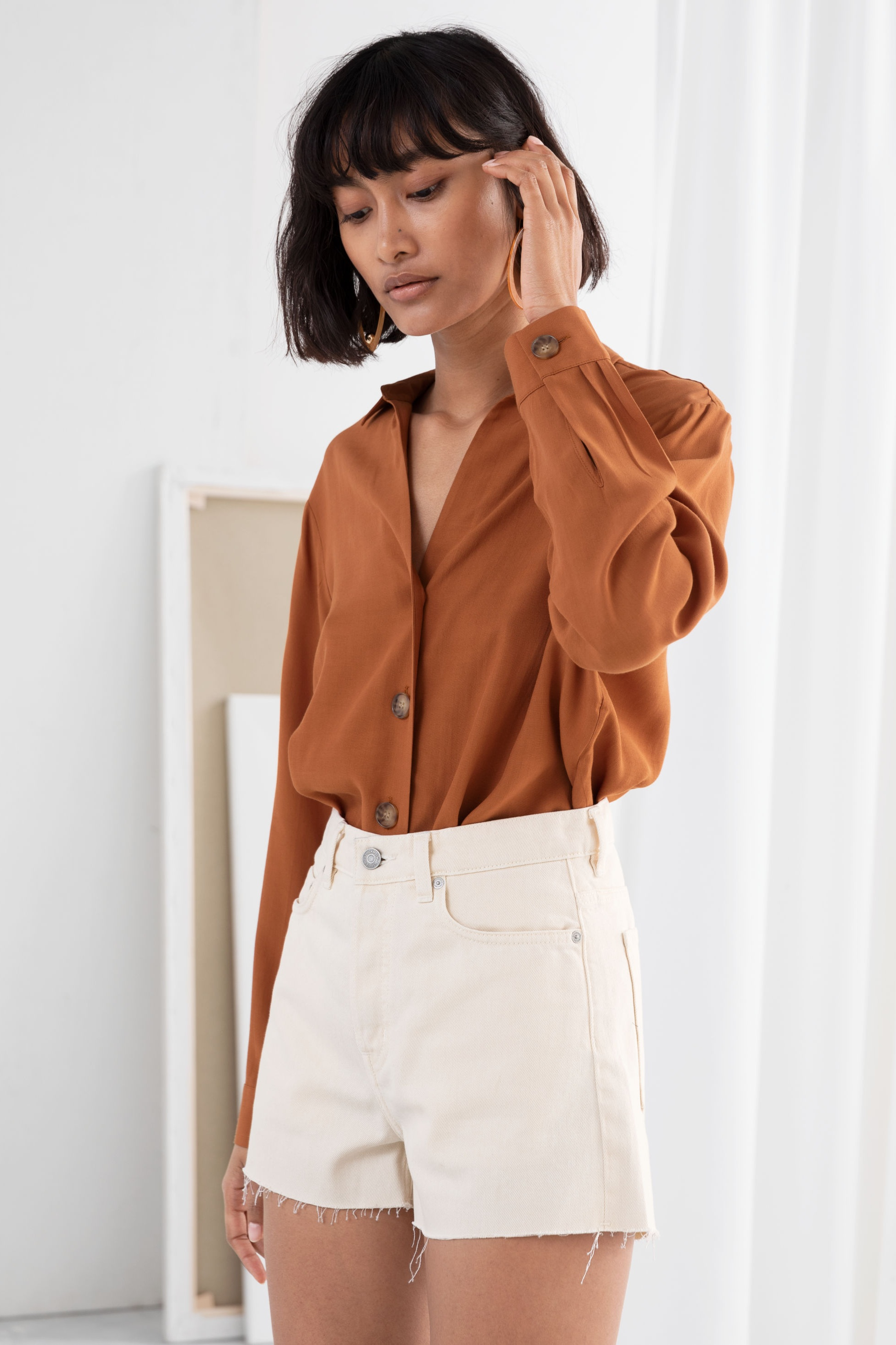 Rust Button Up Blouse, $59, & Other Stories