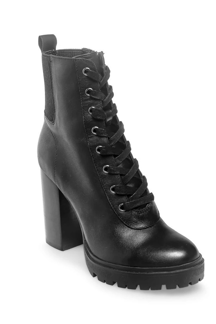 Latch Black Leather Booties, $130, Steve Madden