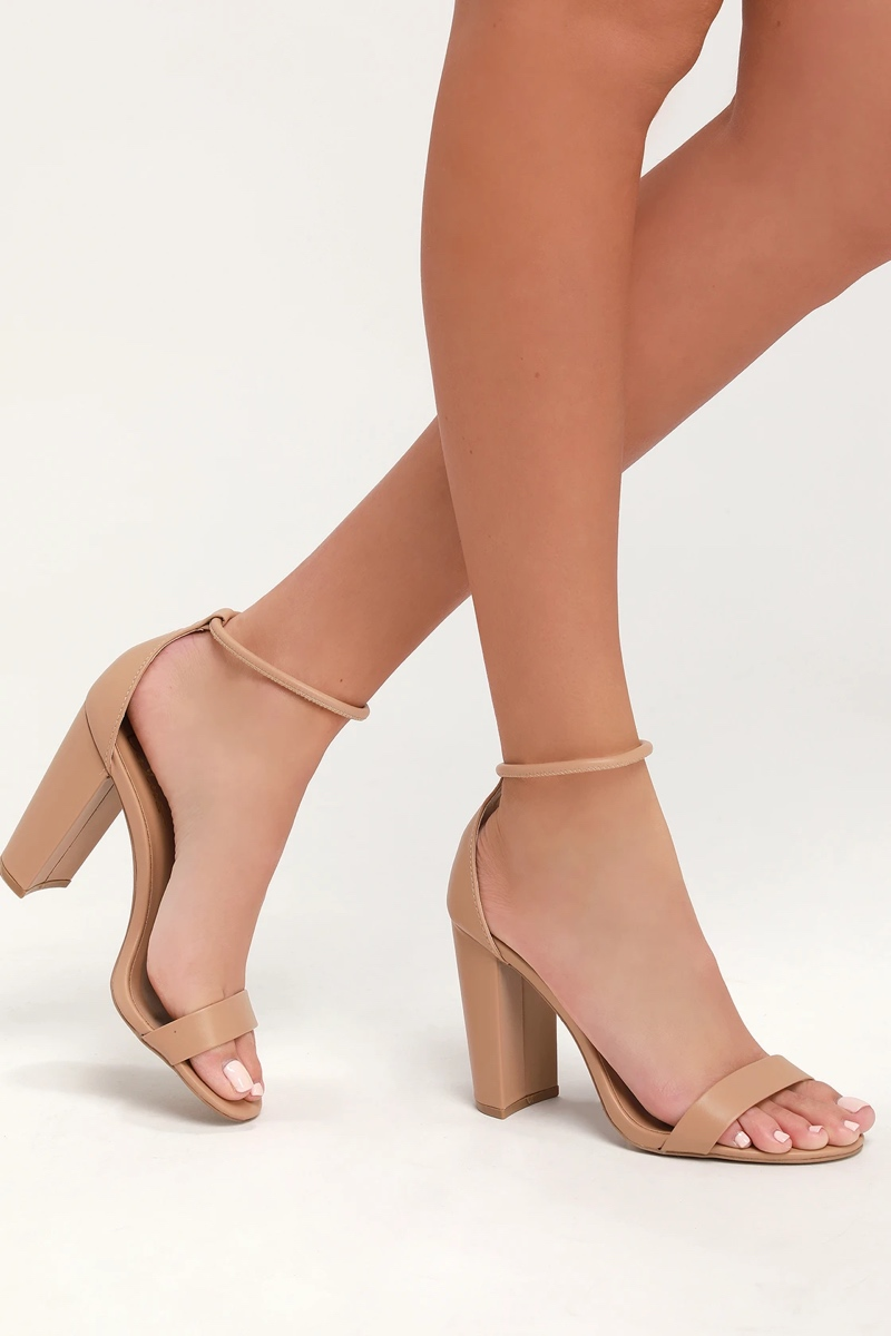 Caleigh Toffee Ankle Strap Heels, $33, Lulus