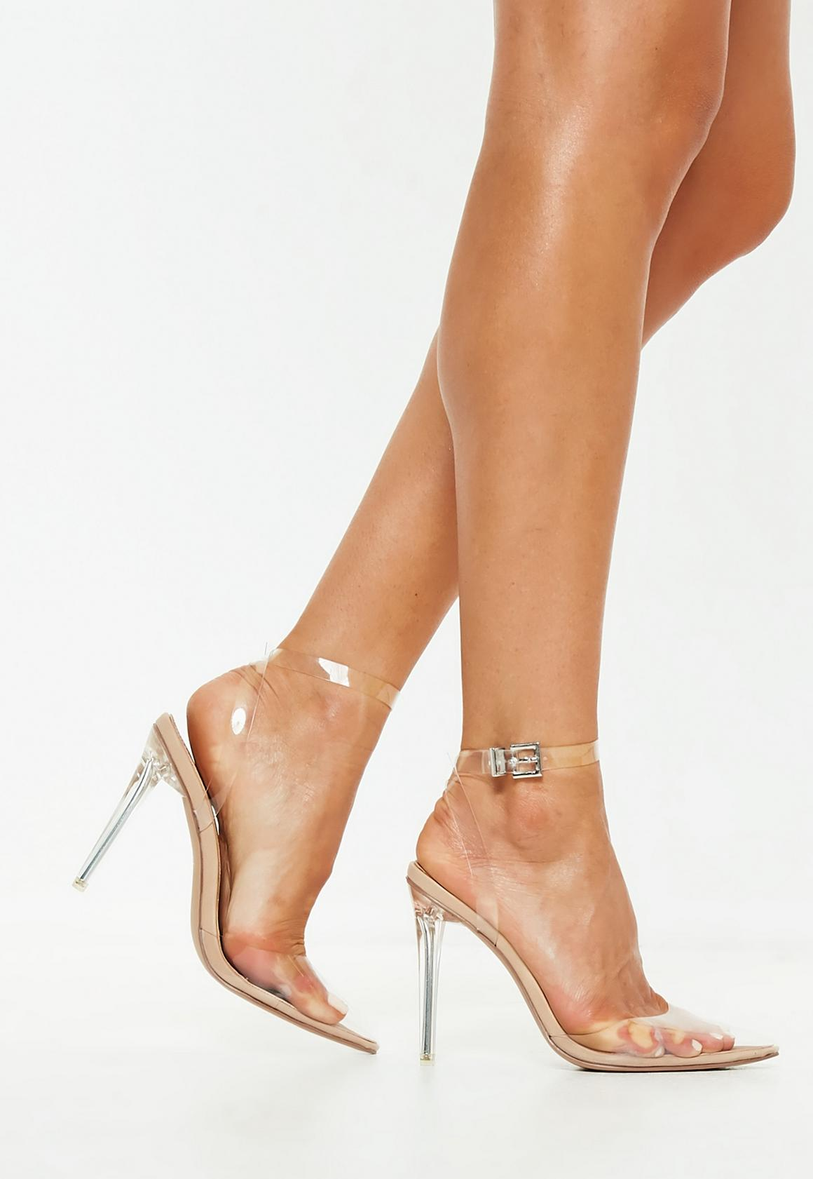 Nude Clear Ankle Strap Pumps, $59, Missguided