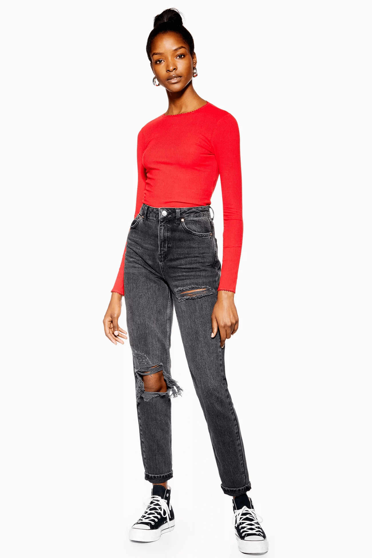 Washed Black Willow Rip Mom Jeans, $75, Topshop