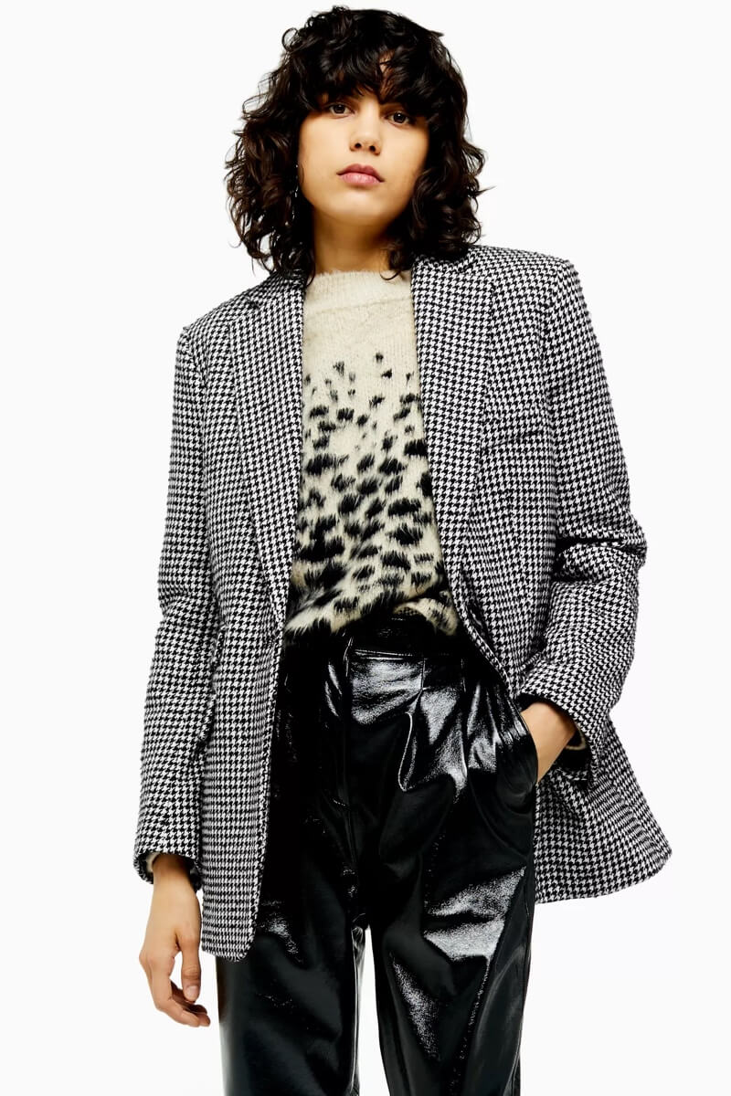 Houndstooth Single Breasted Blazer, $150, Topshop