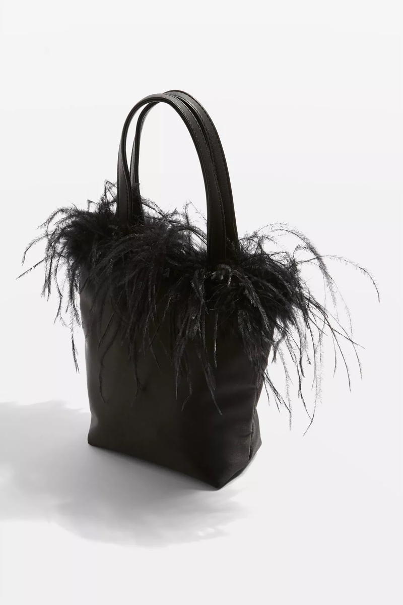 Marabou Trim Grab Bag, $40, Topshop