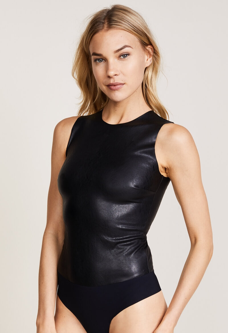 Faux Leather Bodysuit, $98, Shopbop