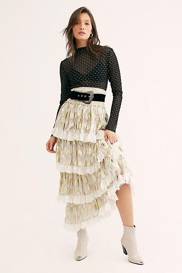 Elsa Ruffle Skirt, $248, Free People