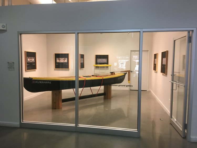 Voyager   Canoe, sprayable rubber, steel, cedar, aluminum, ratchet straps, paint, tar, roofing felt, resin, photographs, glass, road salt