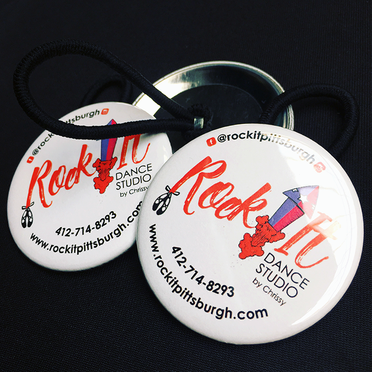 Buttons     Available in circular or rectangular shapes with multiple backings including standard pin, magnet, mirror, bottle opener and hair/shoelace band. Normally less than $1 each and available for pick-up or delivery within 2 weeks, these are an affordable, fun promotional item.