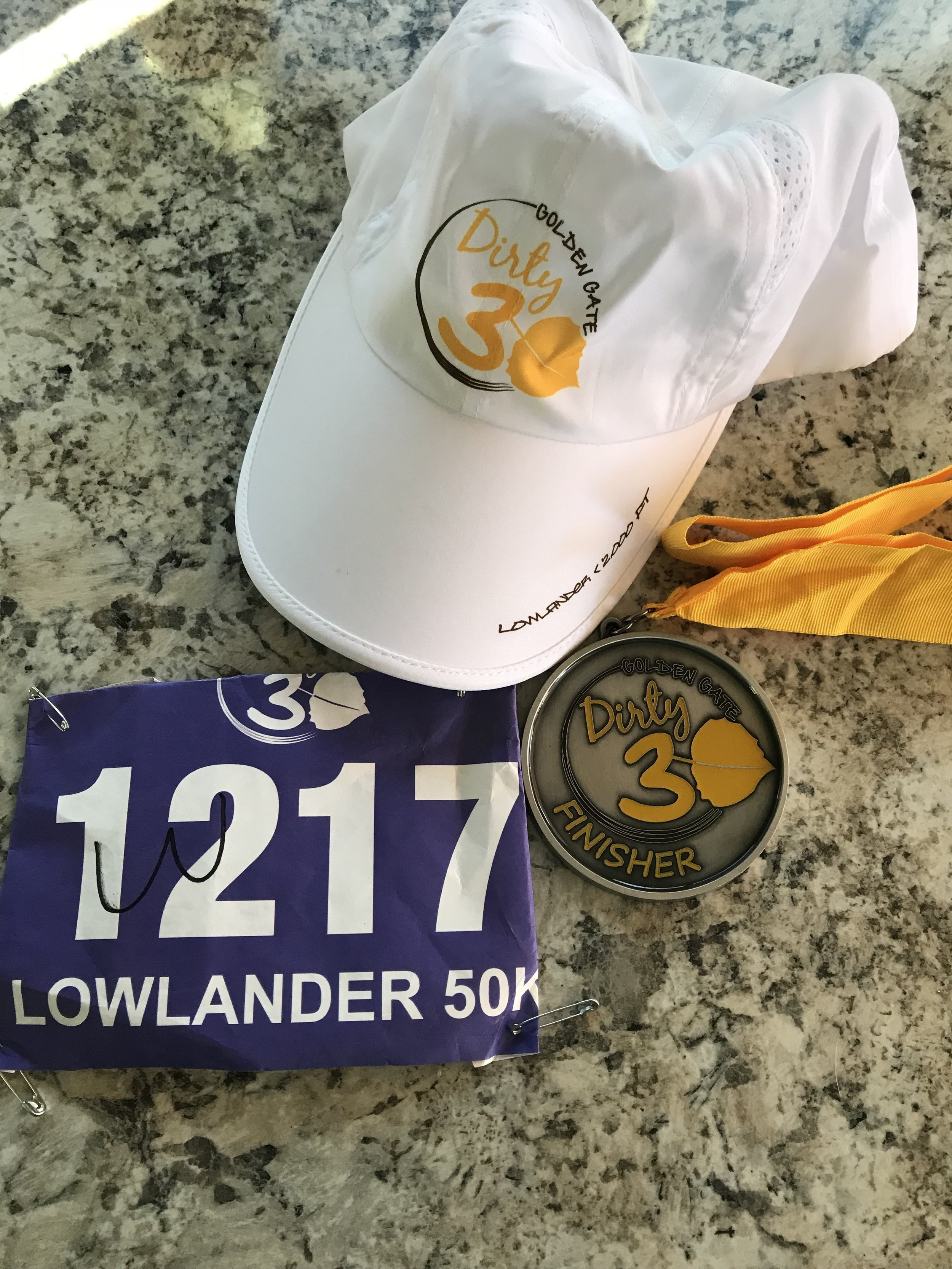 Finisher hat and medal.