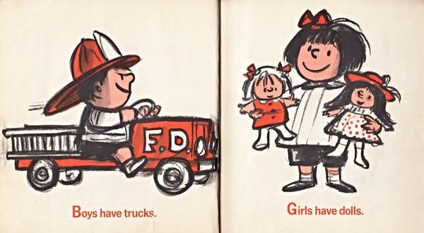 """Ilustrações do Livro de 1970 """"I'm Glad I'm a Boy! I'mGlad I'm a Girl!"""" de Whitney Darrow Jr., satirical cartunista do New York Times. Ver o site do  Brain Picking  para mais informações."""