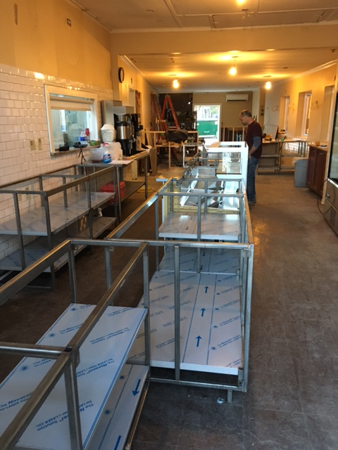 The bones of the new counter are set in place.