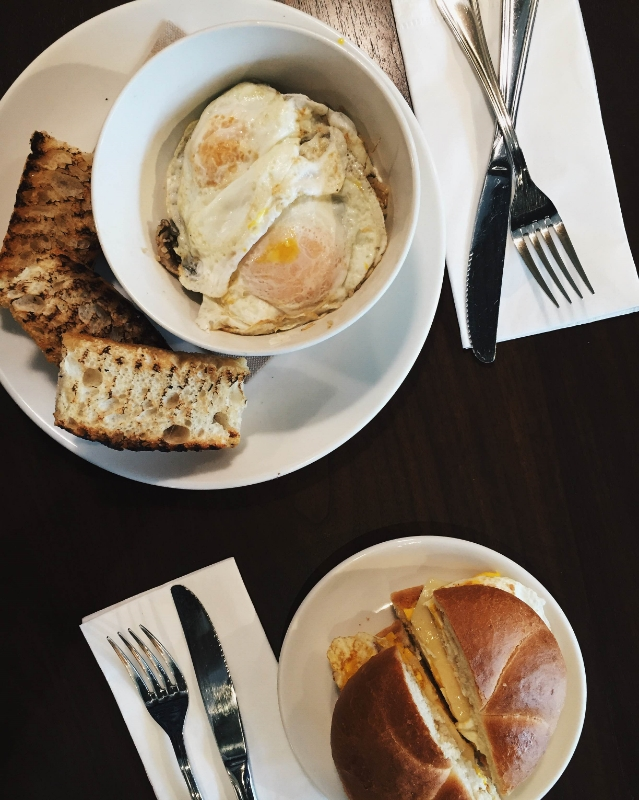 The Eggs & Quinoa, pictured here with a classic Egg & Cheese