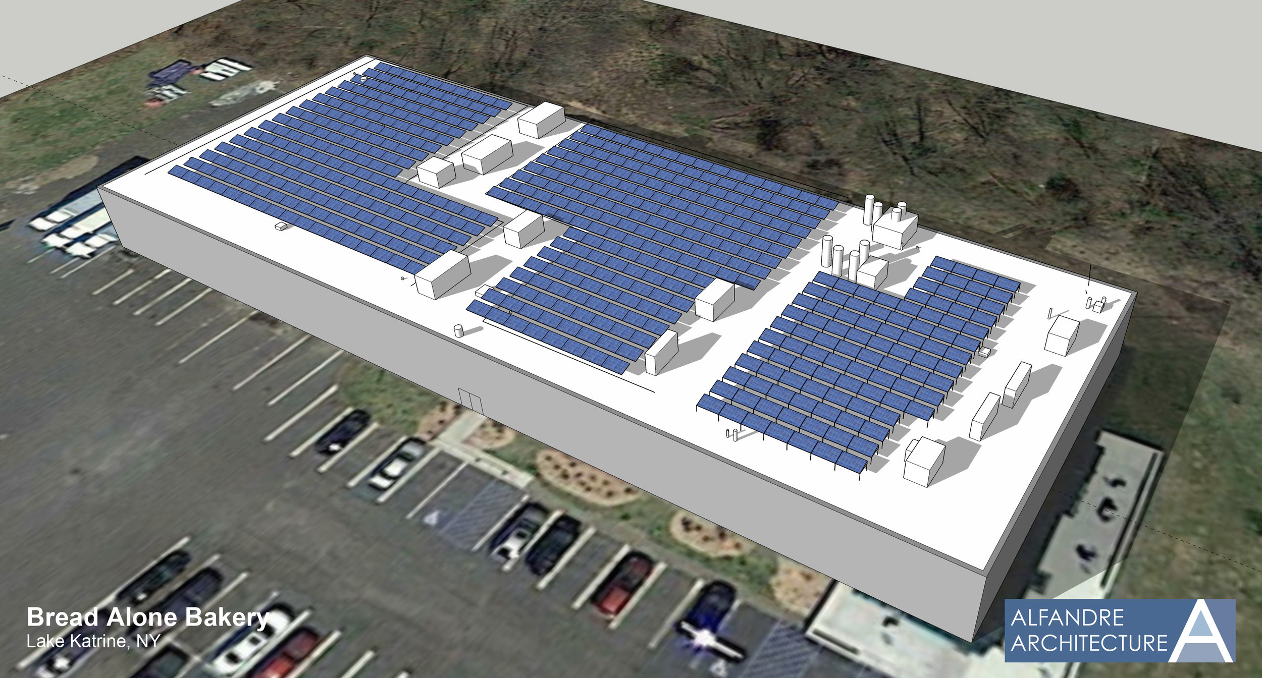 Rendering of the bakery with our planned 200KW solar array.