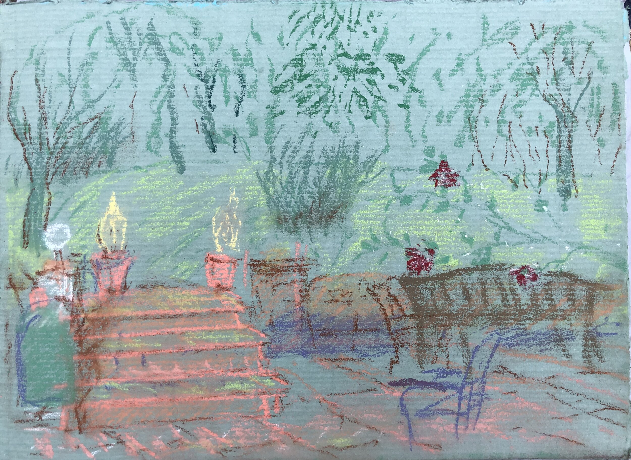 """South from the Patio"".  Pastel on Fabriano Paper, 250 X 330mm."