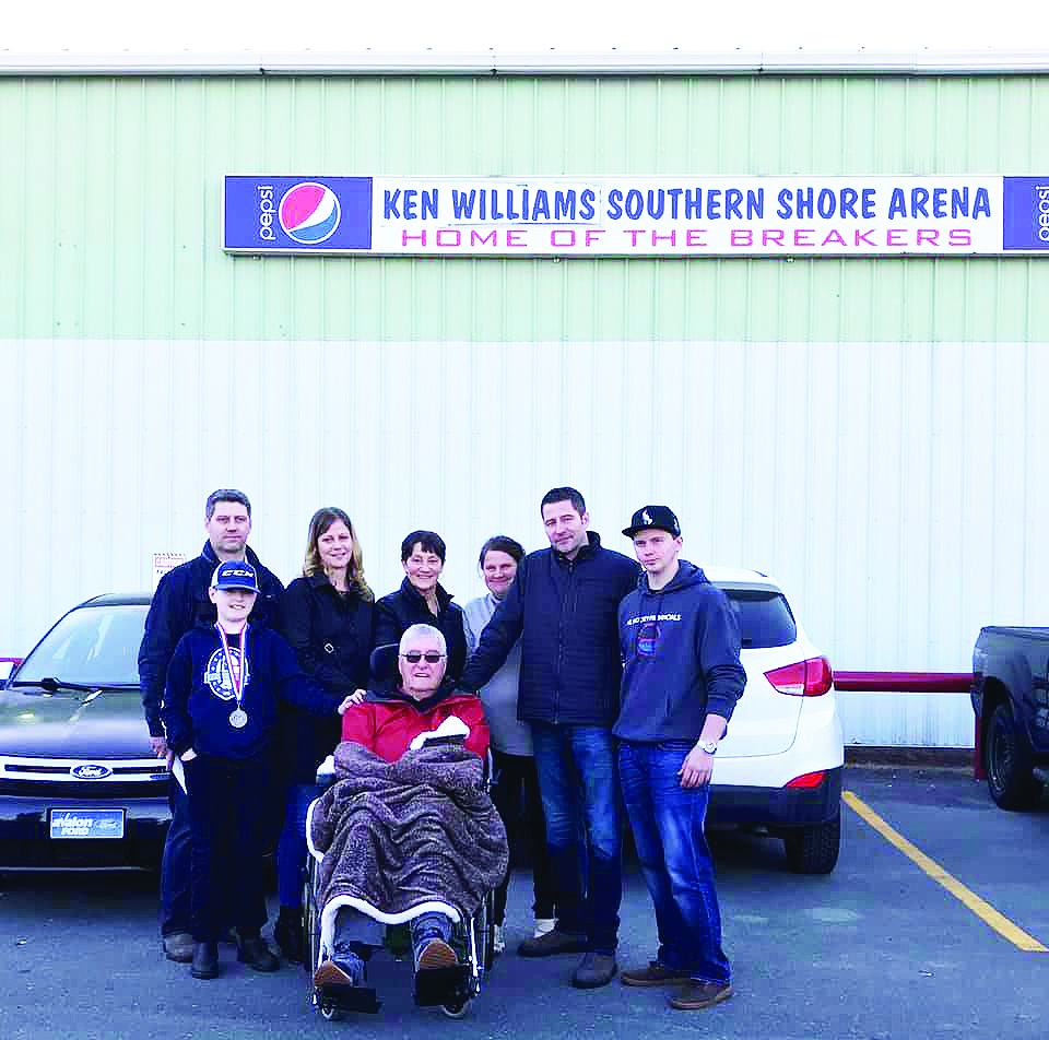 Ken Williams and family at the unveiling of the new sign for the Ken Williams Southern Shore Arena. From left to right are Gary Williams, Krista Williams, Diane Williams, Roxanne Corbett, Kenny Williams Jr., and Isaac Corbett. In front is Connor Williams and Kenny Williams Sr.
