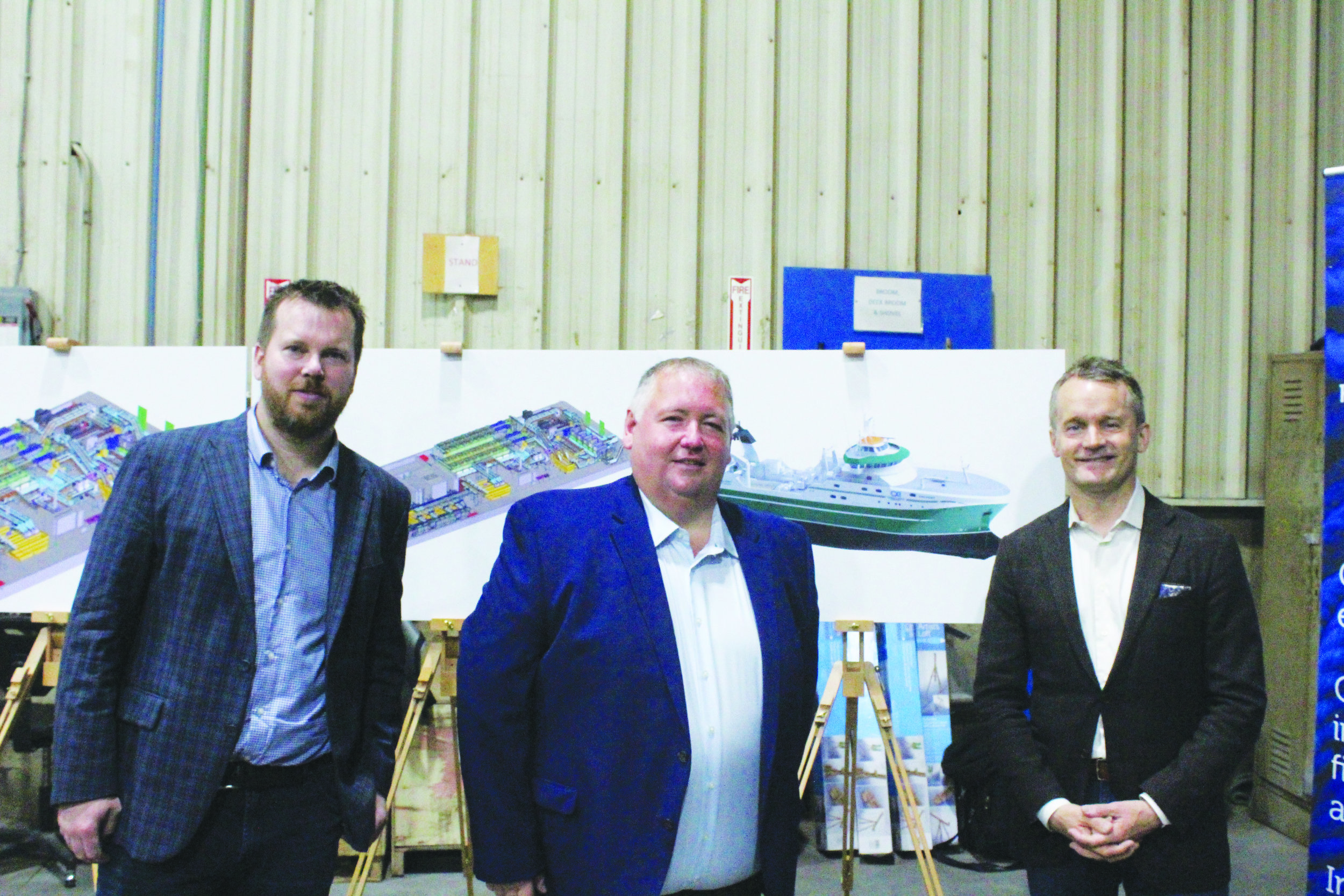 From left to right are Dennis Crane, operations manager for C&W Industrial Fabrication and Marine Equipment, Blaine Sullivan, OCI President, and Minister of Indigenous Services Seamus O'Regan.   Mark Squibb photo