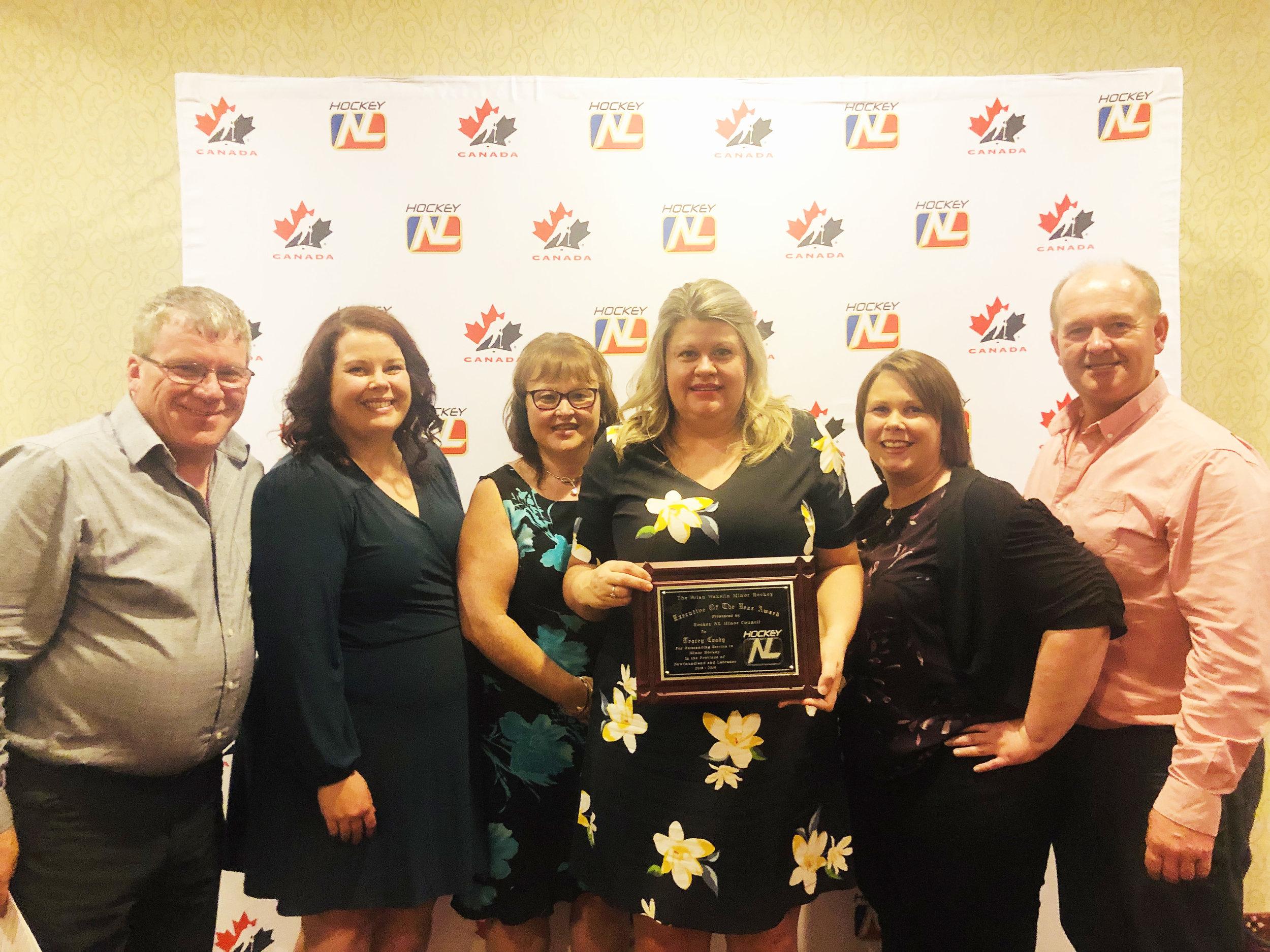 Members of the Southern Shore Minor Hockey Association congratulate Tracy Coady on winning one of Hoockey NL's top honours. From left are Luke Bidgood, Susan Mullowney, Amanda Duggan, Tracey Coady, Melissa Lynch, and Rodney Sullivan.