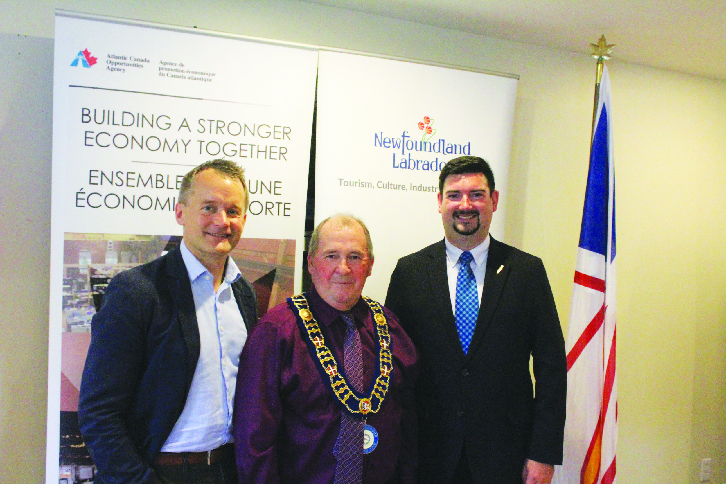 From left to right are St. John's South — Mount Pearl MP Seamus O' Regan, Town of Petty Harbour—Maddox Cove Mayor Samuel Lee, and Minister of Business, Tourism, Culture and Rural Development Christopher Mitchelmore. Mark Squibb photo