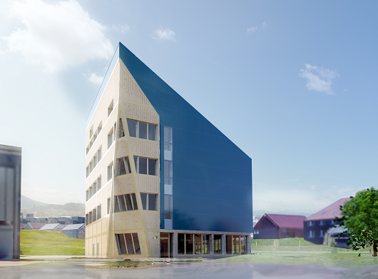 ZEB Laboratory will be built at NTNU‐campus in Trondheim with a wood constructed 19 m long BIPV roof. The building is suitable for monitoring of temperature, humidity and air velocity inside the air cavity beneath the PV roofing. Illustration: LINK Arkitektur/Veidekke.