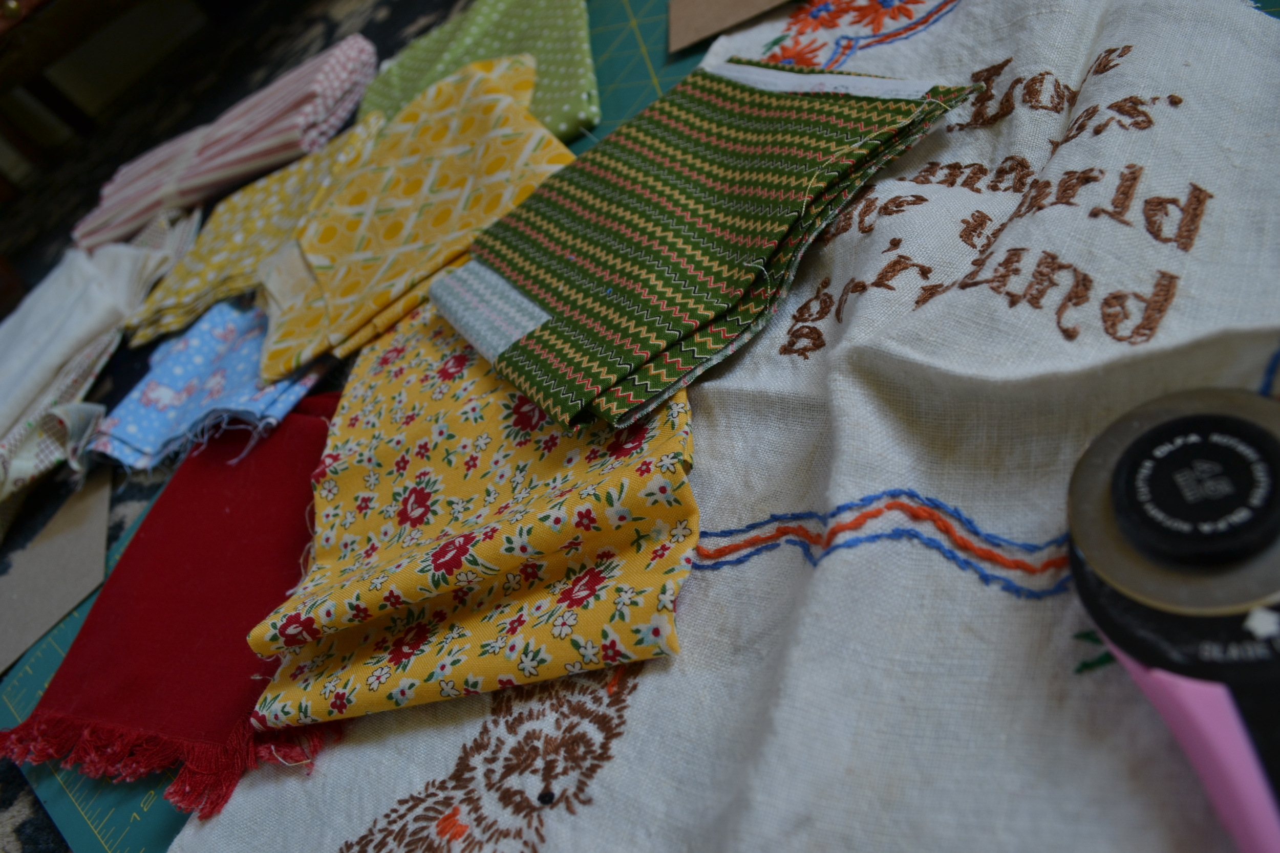 picking out the fabrics