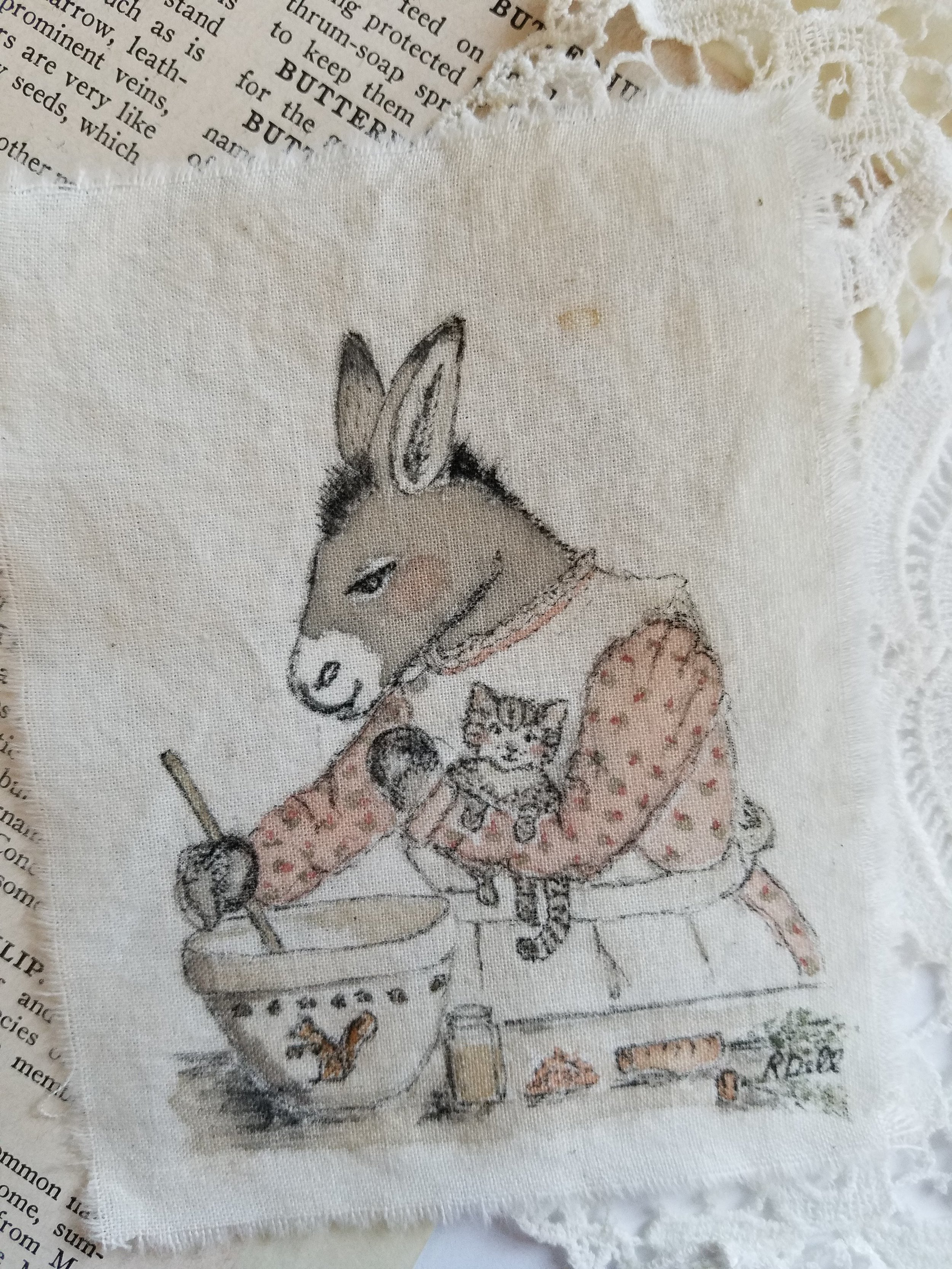 This was a commissioned fabric painting made for a donkey-lover. :)