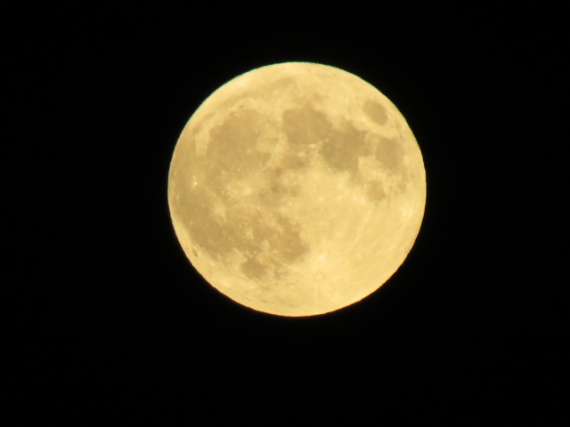 The moon as it rose Sunday night.
