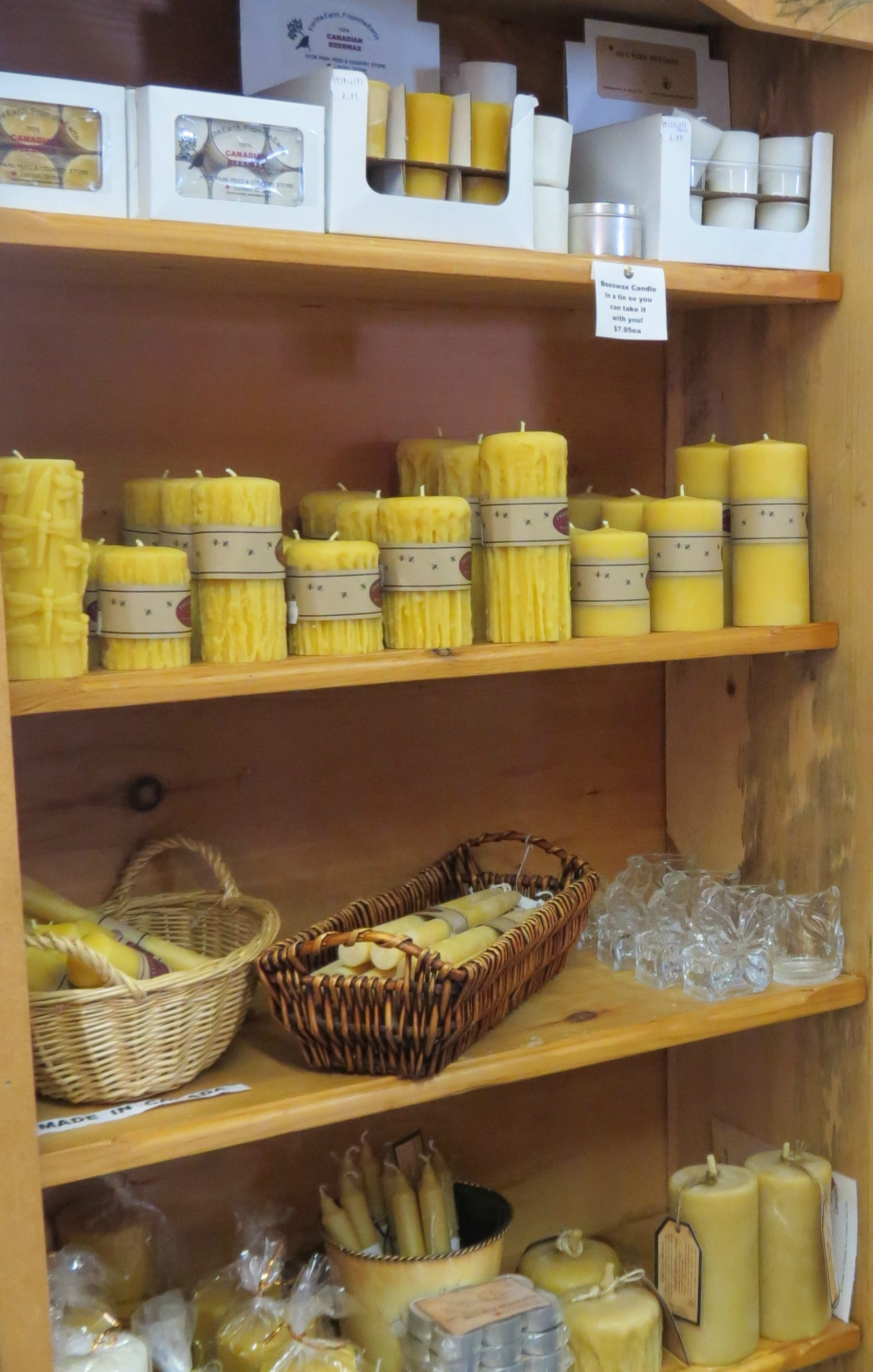 Just a small portion of the Beeswax Candles that we currently offer!!