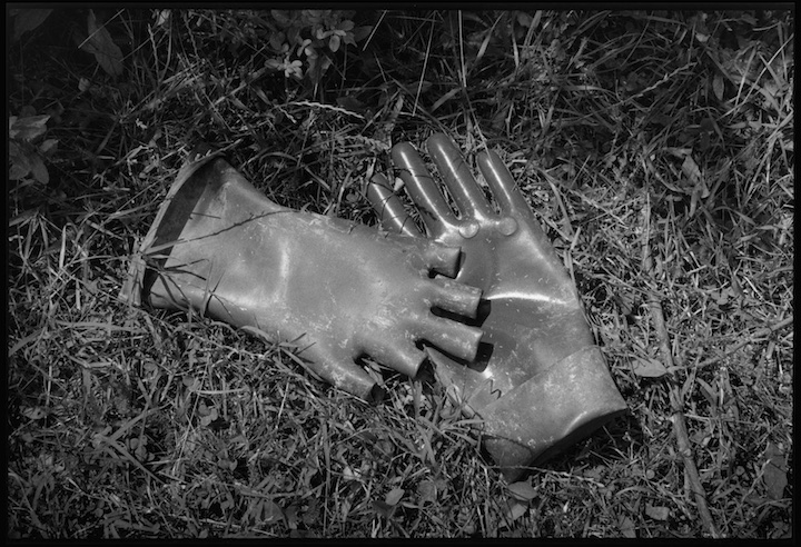 Rubber gloves used by Serb clean up teams who tried to remove bodies from a mass grave near the village of Meja where refugees say they saw hundreds of men executed by Serb paramilitary forces.
