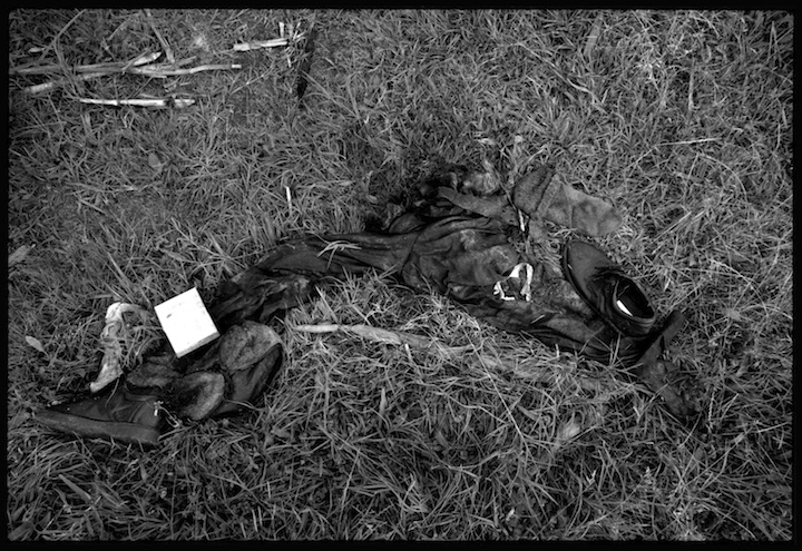 Human remains  in a field near the village of Meja where refugees reported hundreds of men were murdered by Serb paramilitary forces.