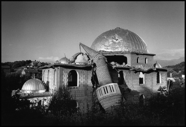 A mosque destroyed by Serb military or paramilitary forces on the road between Prizren and Djakove. Kosovo.