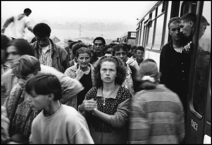 New arrivals at Cegrane refugee camp, Macedonia.
