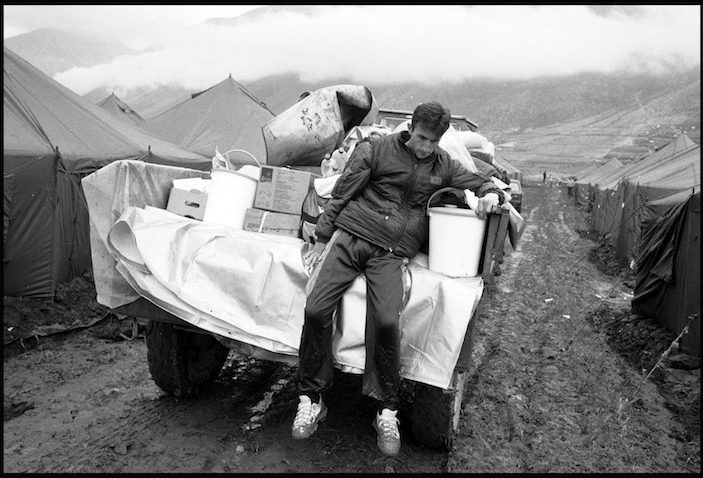 A Kosovar refugee arriving in a camp managed by Medecines-Sans-Frontieres in Kukes, Albania.