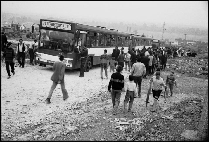 New arrivals at Cegrane refugee camp, Macedonia