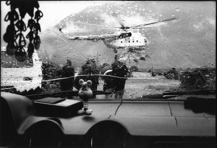 A United Nations helicopter in a resettlement camp in Kukes, Albania.