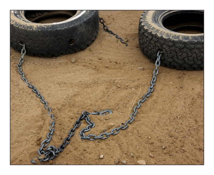 Truck tyres used by the United States Border Patrol to 'cut' the desert trail. 'Cutting the trail' entails dragging car tyres behind a vehicle to sweep the desert trail. This is usually done in the evening so that any migrant footprints made overnight will be visible in the morning and allow Border Patrol trackers to follow them through the desert.