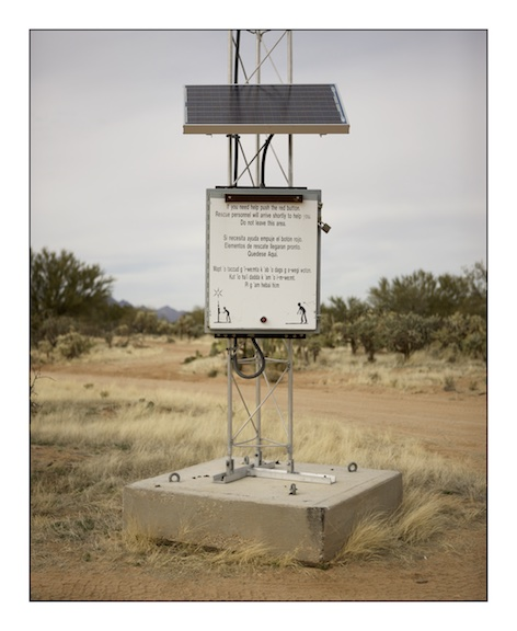 A solar powered beacon located in the desert for migrants who are unable to continue their journey. When the beacon is activated it sends a signal to the emergency services.