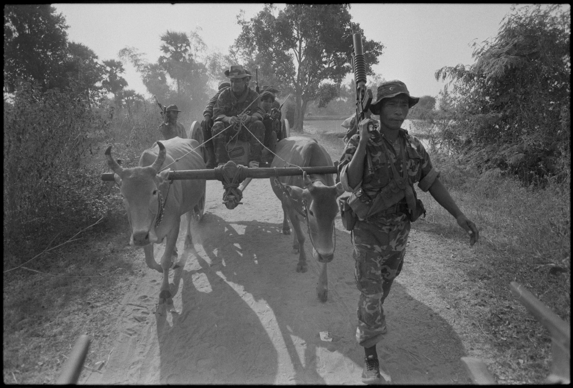 KPNLF soldiers on patrol. Cambodia, 1990