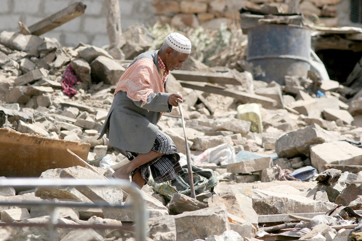 Taiz, Dahra area of Janad district.  Amidst the destruction, the civilian population struggle to survive. Every day brings new challenges and new dangers.  CC BY-NC-ND/ICRC/A. Mahyoub