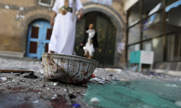 Photo of the week: Broken glass and headgear lie on the ground outside the al-Balili mosque in Sana'a, Yemen. Photograph: Khaled Abdullah/Reuters.  http://www.theguardian.com/world/2015/sep/24/yemen-suicide-bomb-blast-mosque-prayers