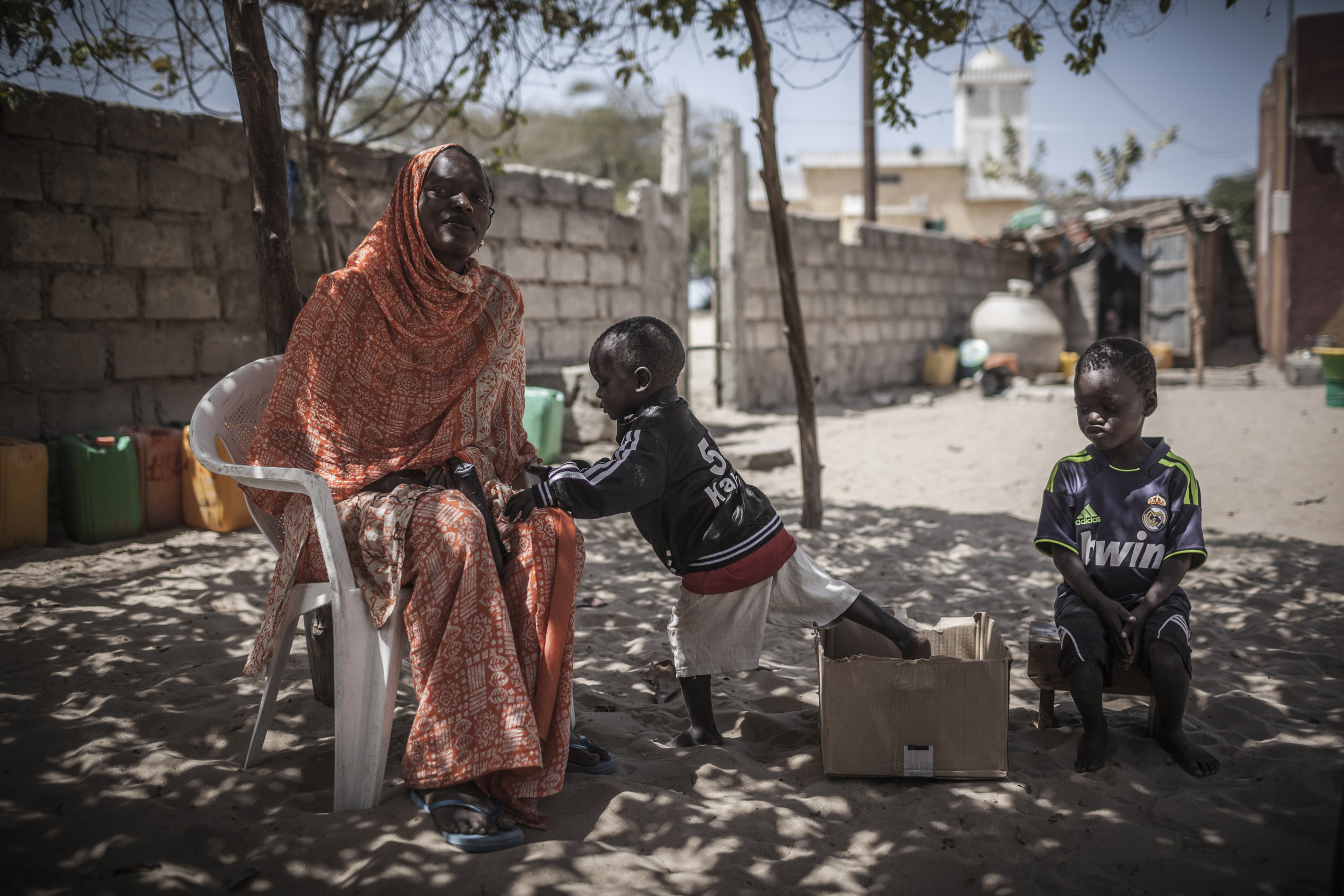 Saint-Louis region, Senegal. Khady, the wife of a missing migrant, benefits from a psychosocial project led by the ICRC and Senegalese Red Cross Society. She also attends literacy class and a program of financing and socio-economic support. ICRC/Jose Cendon
